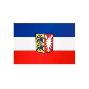 Landesflagge Schleswig-Holstein, Stoffqualität FlagTop 110 g / m² oder 160 g / m² (Maße (LxB)/Format/Konfektionierung/Stoffqualität:  <b>60 x 90 cm</b> (Querformat)<br>mit Seil und Schlaufe<br>FlagTop  <b>110 g/m²</b><br>f&uum
