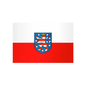 Landesflagge Thüringen, Stoffqualität FlagTop 110 g / m² oder 160 g / m² (Maße (LxB)/Format/Konfektionierung/Stoffqualität:  <b>60 x 90 cm</b> (Querformat)<br>mit Seil und Schlaufe<br>FlagTop  <b>110 g/m²</b><br>für