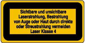 Laserkennzeichnung / Warnzusatzschild, Sichtbare und unsichtbare Laserstrahlung ... (Ausführung: Laserkennzeichnung/Warnzusatzschild, Sichtbare und unsichtbare Laserstrahlung ... (Art.Nr.: 21.1996))