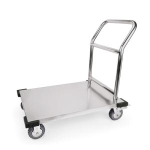 Lastenwagen -WSA4-, Tragfähigkeit 180 kg, aus Edelstahl, mit Rammschutz (Ausführung: Lastenwagen -WSA4-, Tragfähigkeit 180 kg, aus Edelstahl, mit Rammschutz (Art.Nr.: 37226))