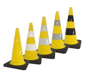 Leitkegel -Safety- aus PVC, Höhe 750 mm, gelb tagesleuchtend, wahlweise mit (Folien-) Streifen (Folie: ohne Folie (Art.Nr.: 34730))
