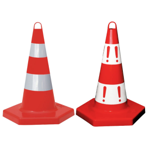 Leitkegel aus PP mit Universalöse, mit Sechseck-Fuß, Höhe 500 mm, rot, tagesleuchtend (Modell/Zeichen: mit 2 silbernen Streifen / ohne !-Zeichen (Art.Nr.: 12406))