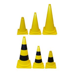 Leitkegel aus PVC, 320, 500 oder 750 mm, wahlweise mit schwarzen Streifen, gelb, tagesleuchtend (Höhe/Gewicht/Ausführung: 320 mm / 0,52 kg<br>ohne (Folien-)Streifen (Art.Nr.: 34956))