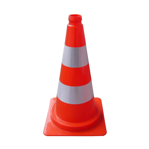 Leitkegel aus PVC, Höhe 750 mm, rot mit 2 silbernen Streifen, teilreflektierend (Ausführung: Leitkegel aus PVC, Höhe 750 mm, rot mit 2 silbernen Streifen, teilreflektierend (Art.Nr.: 3l750rs2))