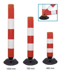Leitzylinder -FlexCone- aus PE, Ø 100 mm, selbstaufrichtend und vollreflektierend, inkl. Fuß (Höhe: 460 mm (Art.Nr.: 14101))
