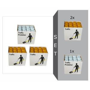 Markierfarben-Set -Protect Traffic-, Markierfarbe -Traffic- und Spezial Versiegelungslack -Traffic Protektor- (Modell: Markierfarbe -Traffic-<br> <b>2 Kartons gelb (24 Stk.)</b><br>Versiegelungslack<br>-Traffic Protector<br> <b>1 Karton (12 Stk.)</b> (Art.N