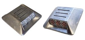 Markierungsnagel aus Aluminium, 100 x 100 x 20 mm, viereckig (Reflexlinsenfarbe: rot/gelb (Art.Nr.: 37675))
