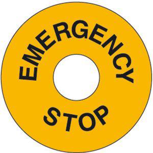 Maschinenkennzeichnung EMERGENCY STOP, selbstklebend (Material/Maße Ø (Außen/Innen):  <b>Kunststoff</b> / 60/30 mm / Hart-PVC, witterungsbeständig und selbstklebend (Art.Nr.: 43.0664))
