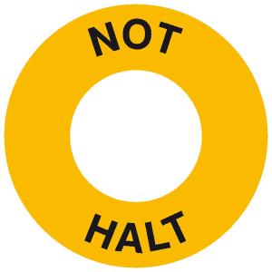 Maschinenkennzeichnung Not Halt, selbstklebend (Material/Maße Ø (Außen/Innen):  <b>Kunststoff</b>/ 60/30 mm / Hart-PVC, witterungsbeständig und selbstklebend (Art.Nr.: 43.1825))