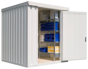 Materialcontainer -STIC 1200- mit Isolierung, ca. 4 m², wahlweise Holzfuß- oder isolierter Boden (Boden/Außenmaße (BxTxH)/Gewicht:  <b>mit Holzfußboden</b><br>2100 x 2170 x 2470 mm<br>Leergewicht 470 kg (Art.Nr.: 31919))