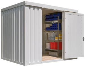 Materialcontainer -STIC 1300- mit Isolierung, ca. 6 m², wahlweise Holzfuß- oder isolierter Boden (Boden/Außenmaße (BxTxH)/Gewicht:  <b>mit Holzfußboden</b><br>3050 x 2170 x 2470 mm<br>Leergewicht 610 kg (Art.Nr.: 31923))