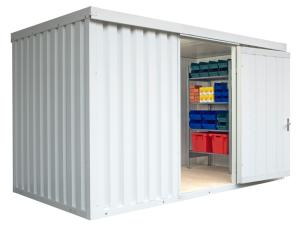 Materialcontainer -STIC 1400- mit Isolierung, ca.8m², optional Holzfußboden oder isolierter Boden (Boden/Außenmaße (BxTxH)/Gewicht:  <b>mit Holzfußboden</b><br>4050 x 2170 x 2470 mm<br>Leergewicht 720 kg (Art.Nr.: 31927))