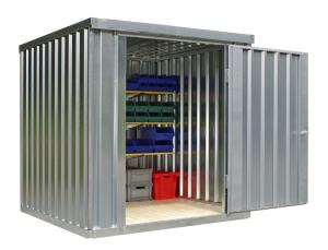 Materialcontainer -STMC 1200-, ca. 4 m², wahlweise mit Holzfußboden (Boden/Innenmaße (BxTxH)/Gewicht:  <b>ohne Boden</b><br>2000 x 2000 x 2080 mm<br>Leergewicht 260 kg (Art.Nr.: 31917))