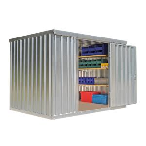 Materialcontainer -STMC 1300-, ca. 6 m², wahlweise mit Holzfußboden (Boden/Innenmaße (BxTxH)/Türposition/Gewicht:  <b>ohne Boden</b><br>2920 x 2000 x 2080 mm<br> <b>Tür in 3 m-Seite</b><br>Leergewicht 390 kg (Art.Nr.: 31921))