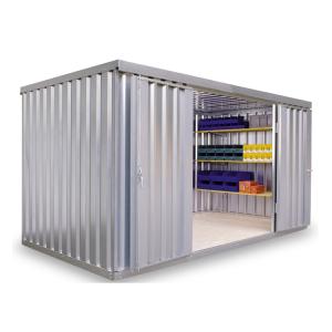 Materialcontainer -STMC 1400-, ca. 8 m², wahlweise mit Holzfußboden (Boden/Innenmaße (BxTxH)/Türposition/Gewicht:  <b>ohne Boden</b><br>3970 x 2000 x 2080 mm<br> <b>Tür in 4 m-Seite</b><br>Leergewicht 520 kg (Art.Nr.: 31925))