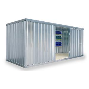 Materialcontainer -STMC 1500-, ca. 10 m², wahlweise mit Holzfußboden (Boden/Innenmaße (BxTxH)/Türposition/Gewicht:  <b>ohne Boden</b><br>5000 x 2000 x 2080 mm<br> <b>Tür in 5 m-Seite</b><br>Leergewicht 520 kg (Art.Nr.: 31929))