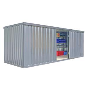 Materialcontainer -STMC 1600-, ca. 12 m², wahlweise mit Holzfußboden (Boden/Innenmaße (BxTxH)/Türposition/Gewicht:  <b>ohne Boden</b><br>5940 x 2000 x 2080 mm<br> <b>Tür in 6 m-Seite</b><br>Leergewicht 780 kg (Art.Nr.: 31933))