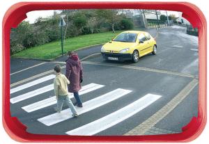Mehrzweckspiegel Visiom®, für 2 Blickrichtungen, eckig, mit rotem Rahmen (Material/Max. Beobachterabstand/Gewicht/Garantie: Polymir® / ca. 9 m<br>9 kg /  <b>3 Jahre Garantie</b><br>auf die Funktion (Spiegelglas,<br>Rahmen,Halterung) (Art.Nr.: