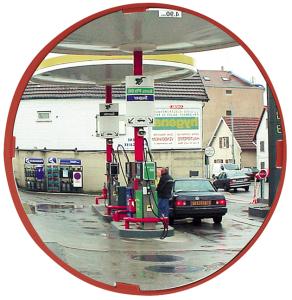 Mehrzweckspiegel Visiom®, für 2 Blickrichtungen, rund, mit rotem Rahmen (Durchmesser/Material/Max. Beobachterabstand/Gewicht/Garantie:  <b>Ø 400mm</b>/Polymir®<br>ca. 5m/3 kg/ <b>3 Jahre Garantie</b><br>auf die Funktion (Spiegelglas,<br>