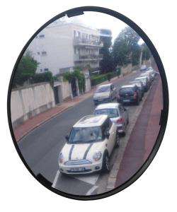 Mehrzweckspiegel Visiom®, für 2 Blickrichtungen, rund, mit schwarzem Rahmen (Durchmesser/Material/Max. Beobachterabstand/Gewicht:  <b>Ø 300 mm</b> / Polymir®<br>ca. 3 m / 3 kg /  <b>3 Jahre Garantie</b><br>auf die Funktion (Spiegelglas,<