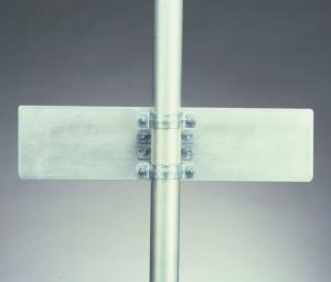 Mittelbefestigung für Straßennamen aus Alu-Hohlkastenprofil, mit Rohrschelle (Pfostendurchmesser: Ø 60 mm (Art.Nr.: 015ms615))