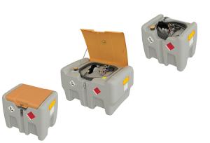 Mobile Dieseltankanlage -CEMO DT-Mobil Easy- aus Polyethylen, 210 o. 440 Liter, nach ADR 1.1.3.1c (Volumen/Maße(LxBxH)/Fördermenge/Deckel:  <b>210 Liter/</b>785x595x685mm<br> <b>Elektropumpe CENTRI SP 30</b><br>12V/30l/min/ <b>ohne Deckel</b> (Art