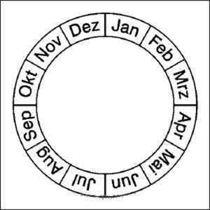 Monatsplakette (Grundplakette) für Prüfplaketten, Bogen (Ausführung: Monatsplakette (Grundplakette) für Prüfplaketten, Bogen (Art.Nr.: 30.0814))