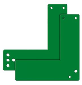 Montageplatten für Einhand-Türwächter, für Glasrahmentüren (Modell/Farbe: kurze/normale Türschilder (17,5cm)<br>und Rosetten/ <b>grün</b> (Art.Nr.: 90.2187))