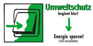 Motivationsschild Energie sparen! Licht ausschalten, rechteckig (Ausführung: Motivationsschild Energie sparen! Licht ausschalten, rechteckig (Art.Nr.: 35.6958))