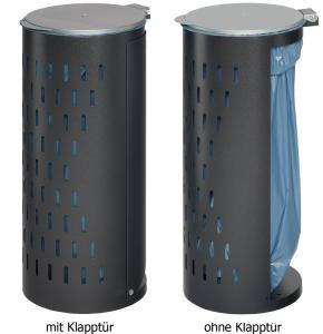 Müllsackständer -Cubo Santos- 120 Liter aus Stahlblech, wahlweise verschließbar (Farbe/Schließung:  <b>antik-silber</b>/nicht verschließbar (Art.Nr.: 15966))