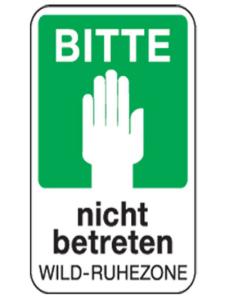 Natur- und Umweltschutzschild -Bitte nicht betreten Wild-Ruhezone- (Maße/Folie: 420x315mm/nicht reflektierend (Art.Nr.: uw070006220))