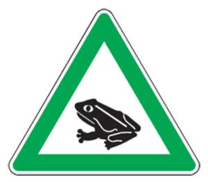 Natur- und Umweltschutzschild -Krötenwanderung-, mit Frosch-Piktogramm, dreieckig (Seitenlänge/Folie: SL 630mm/nicht reflektierend (Art.Nr.: uw040005s20))