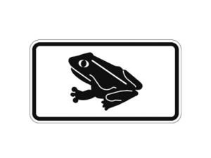 Natur- und Umweltschutzschild -Krötenwanderung- mit Frosch-Piktogramm (Maße/Folie: 231x420mm/nicht reflektierend (Art.Nr.: uw120006120))