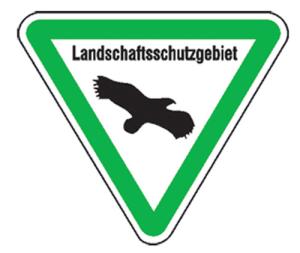 Natur- und Umweltschutzschild -Landschaftsschutzgebiet- (Seitenlänge/Folie: SL 630mm/nicht reflektierend (Art.Nr.: uw060005s20))
