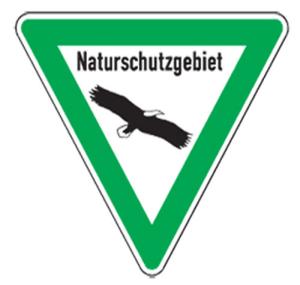 Natur- und Umweltschutzschild -Naturschutzgebiet- (Seitenlänge/Folie: SL 630mm/nicht reflektierend (Art.Nr.: uw050005s20))