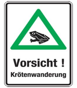 Natur- und Umweltschutzschild -Vorsicht! Krötenwanderung- (Folie: nicht reflektierend (Art.Nr.: uw030007420))