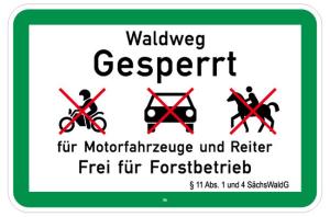 Natur- und Umweltschutzschild -Waldweg Gesperrt- (Folie: nicht reflektierend (Art.Nr.: uw160002720))