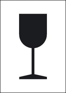 Packstückorientierung Vorsicht zerbrechlich (Maße (BxH)/Material/Verpackungseinheit (VE): 74 x 105 mm / PE-Folie<br>500er-Rolle (Art.Nr.: 31.2240))