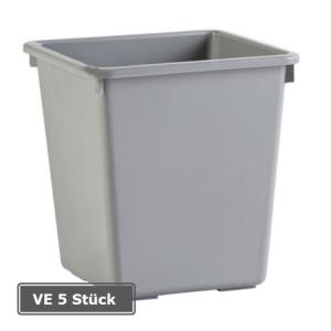 Papierkorb -P-Bins 17-, VE 4 Stück, 21 oder 27 Liter aus Kunststoff (Volumen/Farbe/Maße(HxBxT)/Verpackungseinheit: 21 Liter/ <b>grau</b><br>310x270x270mm/VE 4 Stk. (Art.Nr.: 17522))