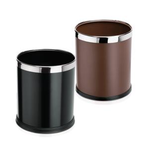 Papierkorb -WSA15-, 9,5 Liter aus Stahl, abnehmbarer Edelstahlring zur Müllbeutelfixierung (Farbe: schwarz  (Art.Nr.: 37254))