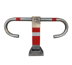 Parkbügel -BÜG-, aufgestellt u. umgelegt abschließbar - rot / weiß (Verschluss: mit  <b>Sicherheitsschloss</b><br>gleichschließend<br>inkl. 2 Schlüssel (Art.Nr.: 14285))