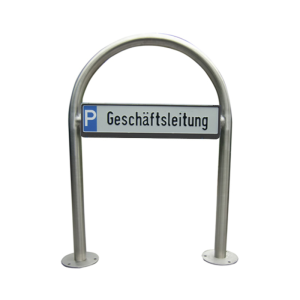 Parkplatzbeschilderung PSIGN -Berlin-, Edelstahl-Rundbügel Ø48mm, Breite 650mm, Höhe ü. Fl. 800mm