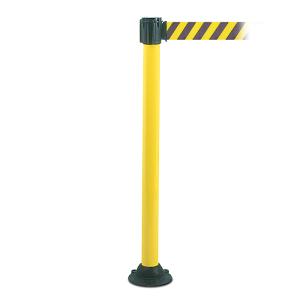 Personenleitsystem -Mountain Belt- aus Aluminium, Gurtlänge 3 m, zum Aufdübeln, versch. Farben (Pfostenfarbe/Gurtfarbe: weiß lackiert / schwarz-silber-schwarz (Art.Nr.: 37214))