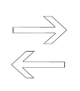 Pfeil für Verkehrszeichen StVO, Nr. 283-... / 286-..., selbstklebende Folie, gestanzt (Modell für Schilder-Größe: für Ø 420 mm Schilder (Art.Nr.: 37220))