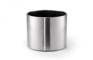 Pflanzbehälter -CREW- 33, 62, 105 oder 178 Liter aus Edelstahl, mobil (Volumen/Maße(ØxHöhe)/Farbe Kunststoffeinsatz:  <b>33 Liter</b>/390x390mm/schwarz (Art.Nr.: 21963))