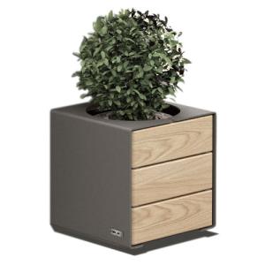 Pflanzbehälter -Kube- aus Stahl und Holz, Farbe und Holzlasur wählbar