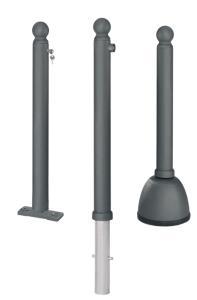 Pfosten -Royal- Ø 80 mm mit Kugelkopf, aus Aluminiumguss mit Stahlrohreinsatz, herausnehmbar, feststehend oder beweglich