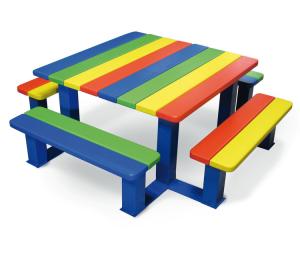 Picknick-Tisch -Child- für Kindergarten und Grundschule, aus Stahl und Holz (Sitzhöhe/Ausführung:  <b>290 mm</b> (Kindergarten) (Art.Nr.: 31331))