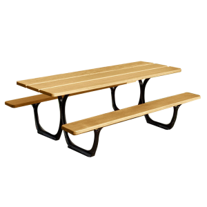 Picknick-Tisch -Sevi- aus Stahl und Holz, wahlweise mit versetztem Fuß für Rollstuhlfahrer