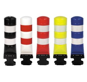 Poller -Leitboy L120-, mit flexiblem Gummiadapter, Folie Typ 2 (RA2) (Farbe:  <b>weiß</b> mit roten Folienstreifen (Art.Nr.: 18359))